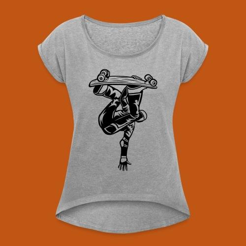 Skater / Skateboarder 03_schwarz - Frauen T-Shirt mit gerollten Ärmeln