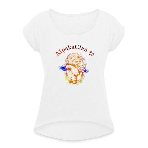 AlpakaClan Gold - Frauen T-Shirt mit gerollten Ärmeln