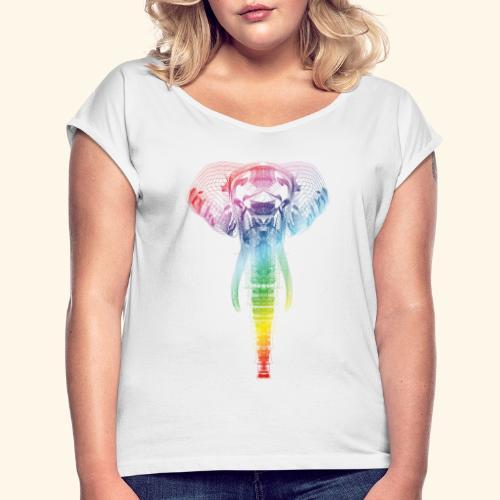 Colorphant - Frauen T-Shirt mit gerollten Ärmeln