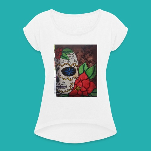 flower-skull - Women's T-Shirt with rolled up sleeves