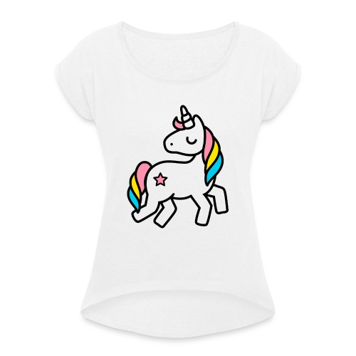 geburtstagswuensche bilder einhorn awesome and s.. - Frauen T-Shirt mit gerollten Ärmeln