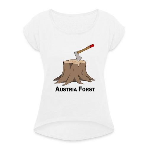 Baumstumpf - Frauen T-Shirt mit gerollten Ärmeln