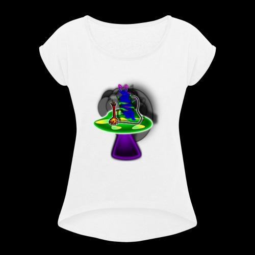 Hookah rauchende Raupe - Frauen T-Shirt mit gerollten Ärmeln