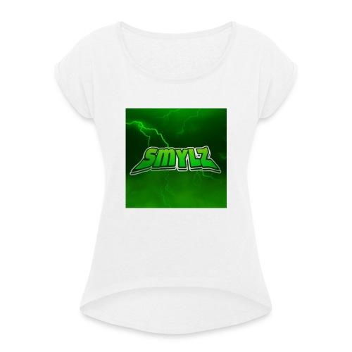 Lightning smylz logo - T-shirt med upprullade ärmar dam