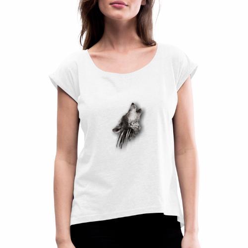 Lobo Degradado - Camiseta con manga enrollada mujer