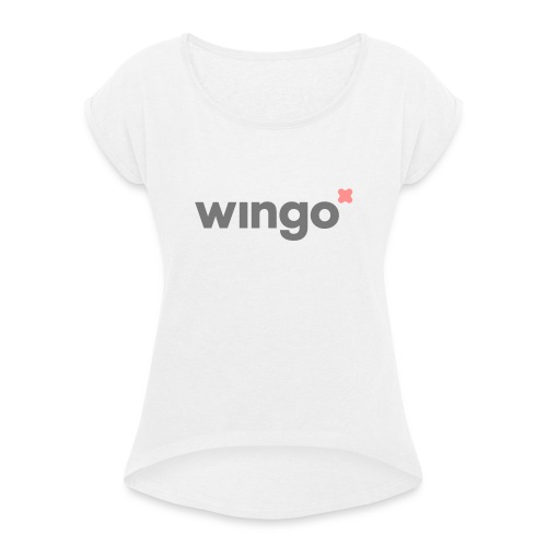wingo logo 2 col (svg) - Women's T-Shirt with rolled up sleeves