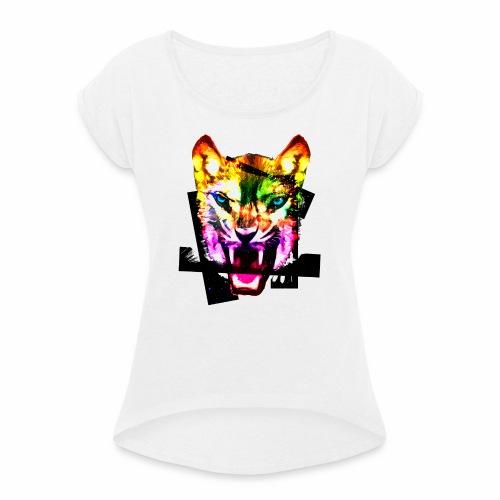 Tiger Kopf Stardust bunt Frühling Sommer Motive - Frauen T-Shirt mit gerollten Ärmeln
