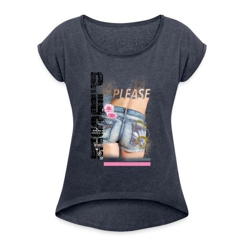 backgirl - Maglietta da donna con risvolti