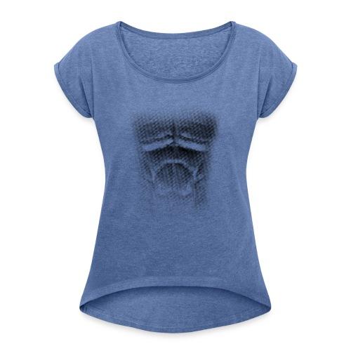 echt muskeln dark - Frauen T-Shirt mit gerollten Ärmeln