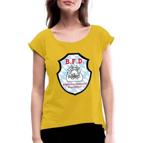 Inoffizielles bayrisches Feuerwehrabzeichen - Frauen T-Shirt mit gerollten Ärmeln