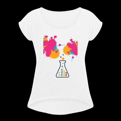 FarbeKlecks - Frauen T-Shirt mit gerollten Ärmeln