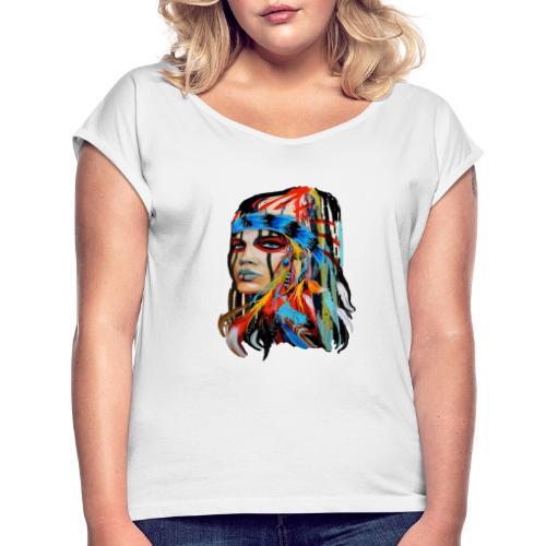 Pióra i pióropusze - Koszulka damska z lekko podwiniętymi rękawami