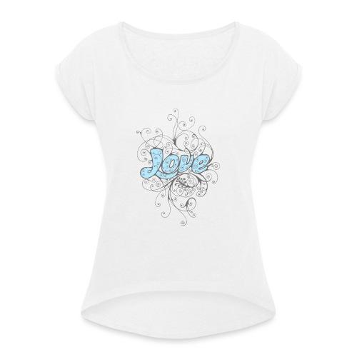 LOVE CON DECORI - Maglietta da donna con risvolti