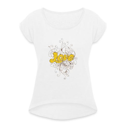 Scritta Love con decorazione - Maglietta da donna con risvolti