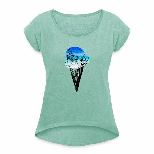 Ice Cream Paradise - Frauen T-Shirt mit gerollten Ärmeln