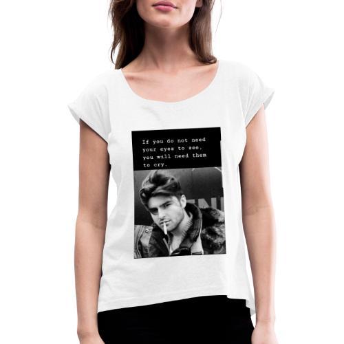 20190819 085709 - Frauen T-Shirt mit gerollten Ärmeln