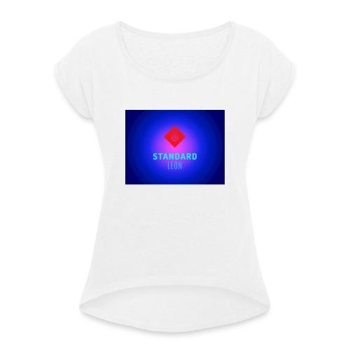 StandardLeon YouTube Logo - Frauen T-Shirt mit gerollten Ärmeln
