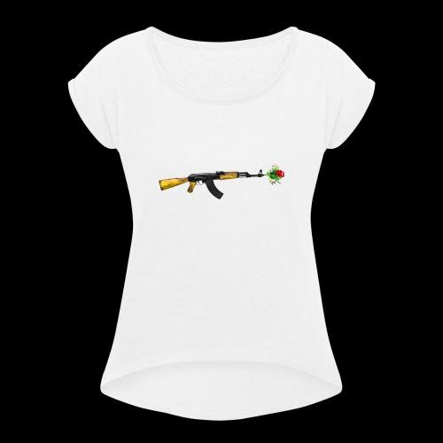 AKFLOWER - Frauen T-Shirt mit gerollten Ärmeln