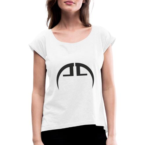 halb schwarz - Frauen T-Shirt mit gerollten Ärmeln