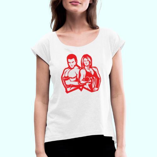 Man & woman NLB - Naisten T-paita, jossa rullatut hihat