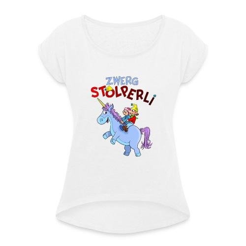 Zwerg Stolperli und das blaue Einhorn - Frauen T-Shirt mit gerollten Ärmeln