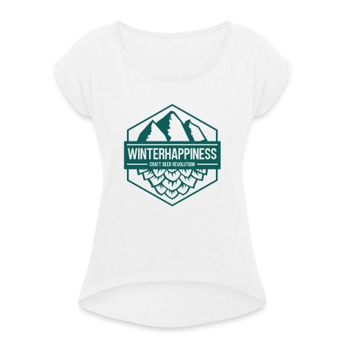 Winterhappiness Logo - T-skjorte med rulleermer for kvinner