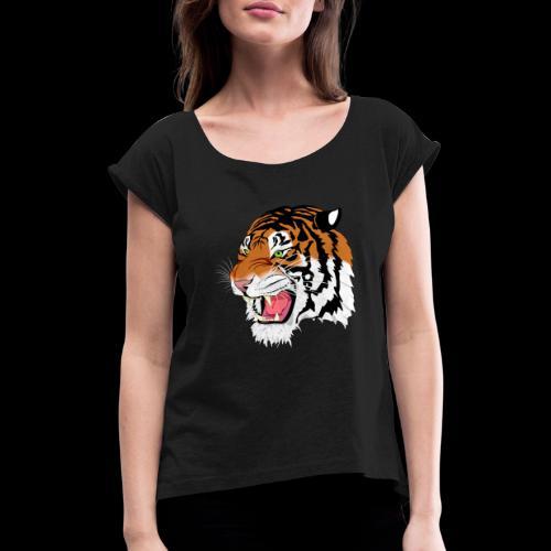 Sumatra Tiger - Frauen T-Shirt mit gerollten Ärmeln