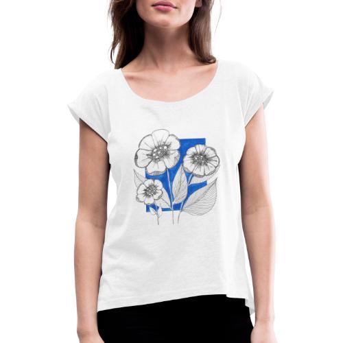 Fiori - Maglietta da donna con risvolti
