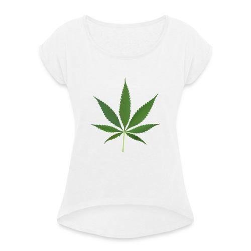 2000px-Cannabis_leaf_2 - Dame T-shirt med rulleærmer