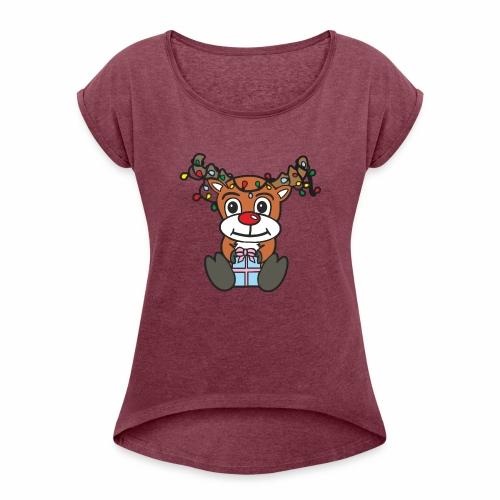 Rentier mit Lichterkette - Frauen T-Shirt mit gerollten Ärmeln