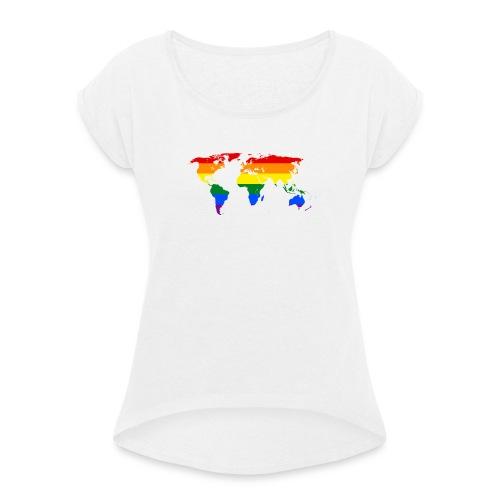 rainbow world map (regnbåge världskarta) motiv - T-shirt med upprullade ärmar dam