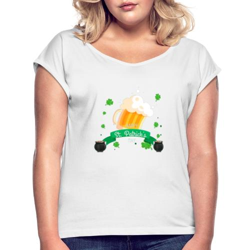 Happy St Patrick's tee shirt - T-shirt à manches retroussées Femme