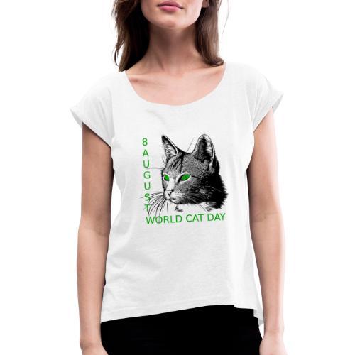 Gatto, 8 agosto la sua giornata mondiale - Maglietta da donna con risvolti
