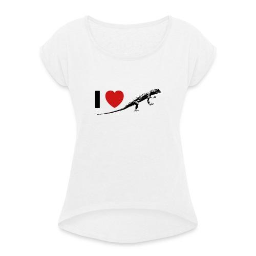 I ❤️ Echse - Frauen T-Shirt mit gerollten Ärmeln
