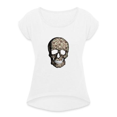 Skull Money Black - Camiseta con manga enrollada mujer