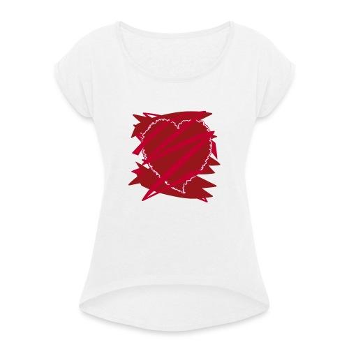 corazón enamorado, corazón roto - Camiseta con manga enrollada mujer
