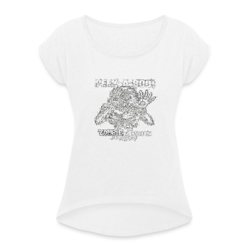 peek a boo zombie Jesus sees you - Women's T-Shirt with rolled up sleeves