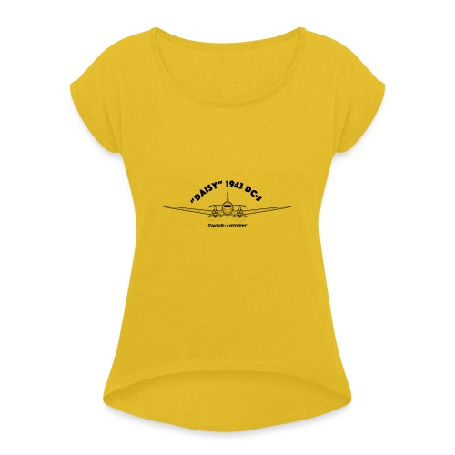 Daisy Blueprint Front 1 - T-shirt med upprullade ärmar dam
