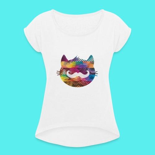 CAT - Camiseta con manga enrollada mujer