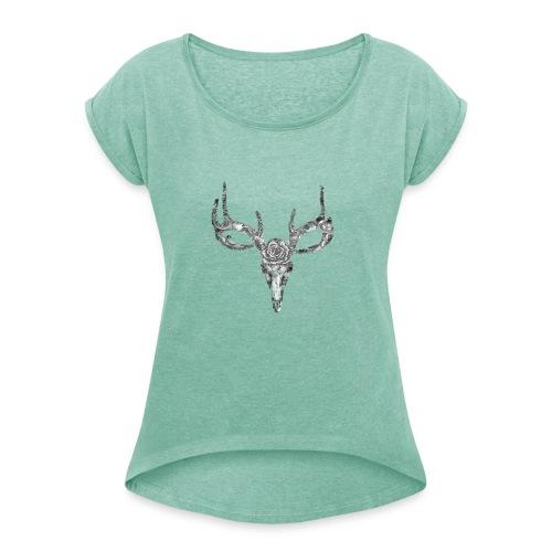 Deer skull with rose - Naisten T-paita, jossa rullatut hihat