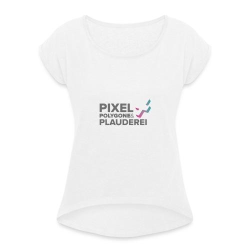 Pixel Polygone Plauderei Logo Grau - Frauen T-Shirt mit gerollten Ärmeln