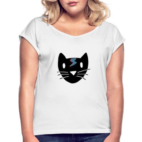 Bowie Cat - Frauen T-Shirt mit gerollten Ärmeln