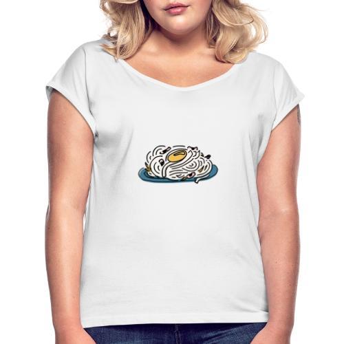 Carbonara Nudeln - Frauen T-Shirt mit gerollten Ärmeln