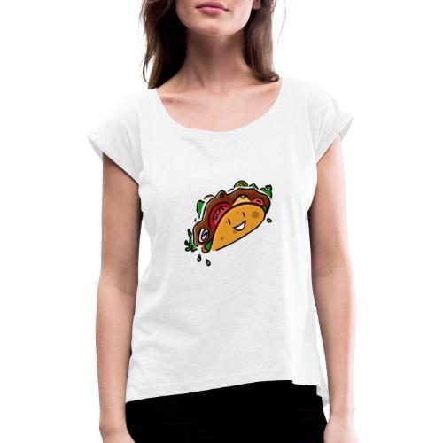 Glücklicher Taco - Frauen T-Shirt mit gerollten Ärmeln