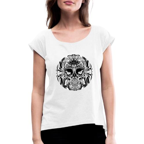 skull SW - Frauen T-Shirt mit gerollten Ärmeln