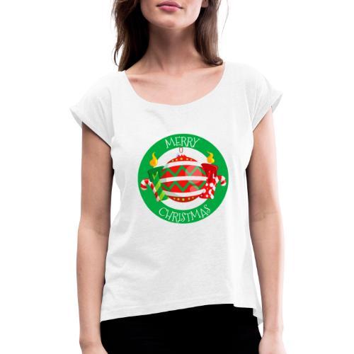 merry christmas 02 - Camiseta con manga enrollada mujer