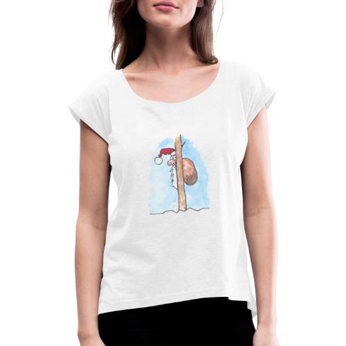 Julkort - T-shirt med upprullade ärmar dam