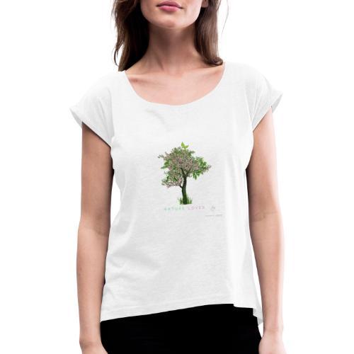 Natur - Frauen T-Shirt mit gerollten Ärmeln