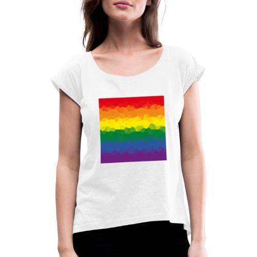 LGBT Flaggen Mosasaik - Frauen T-Shirt mit gerollten Ärmeln