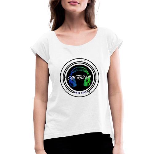 cab.thomas Kollektion Headphone - Frauen T-Shirt mit gerollten Ärmeln